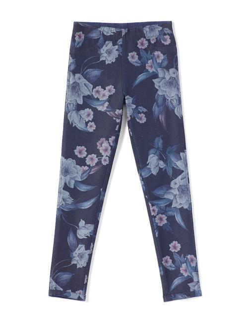 Girl's Floral Reversible Denim High Rise Leggings