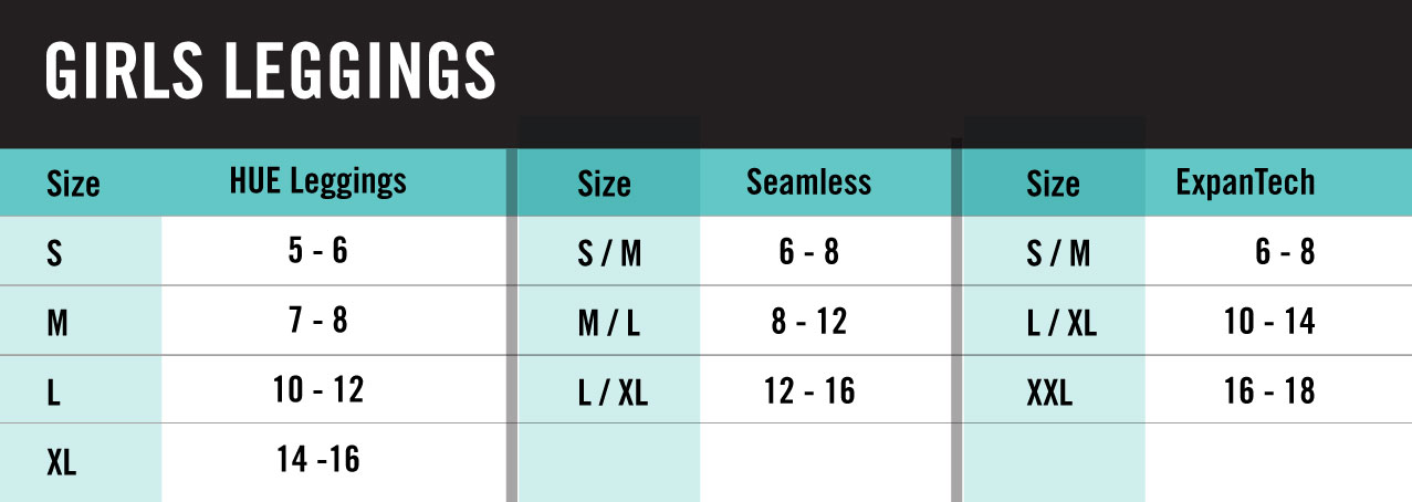 Hue Girls Leggings Size Chart