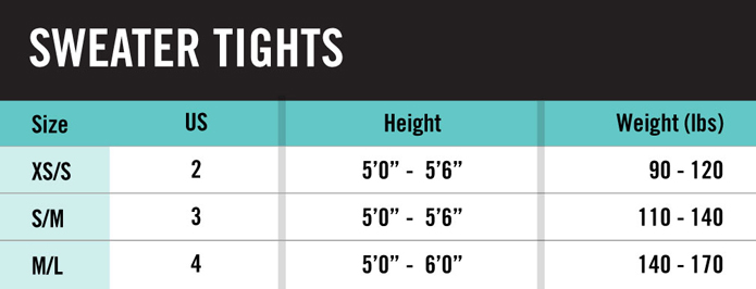 Hue Sweater Tights Size Chart