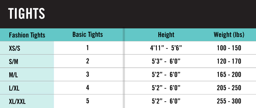 Hue Tights Size Chart