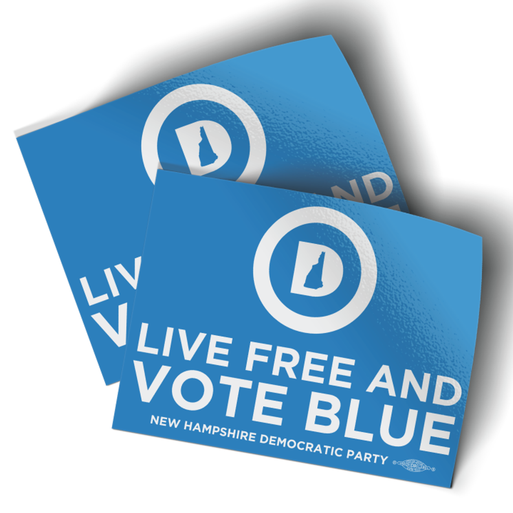 """Live Free And Vote Blue (4"""" x 3"""" Vinyl Sticker -- Pack of Two!)"""