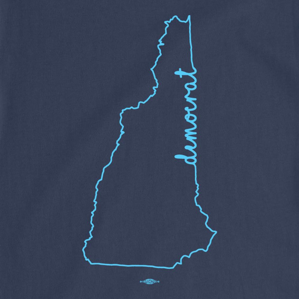 """NH Democrat Outline"" (Navy Long-Sleeve Tee)"