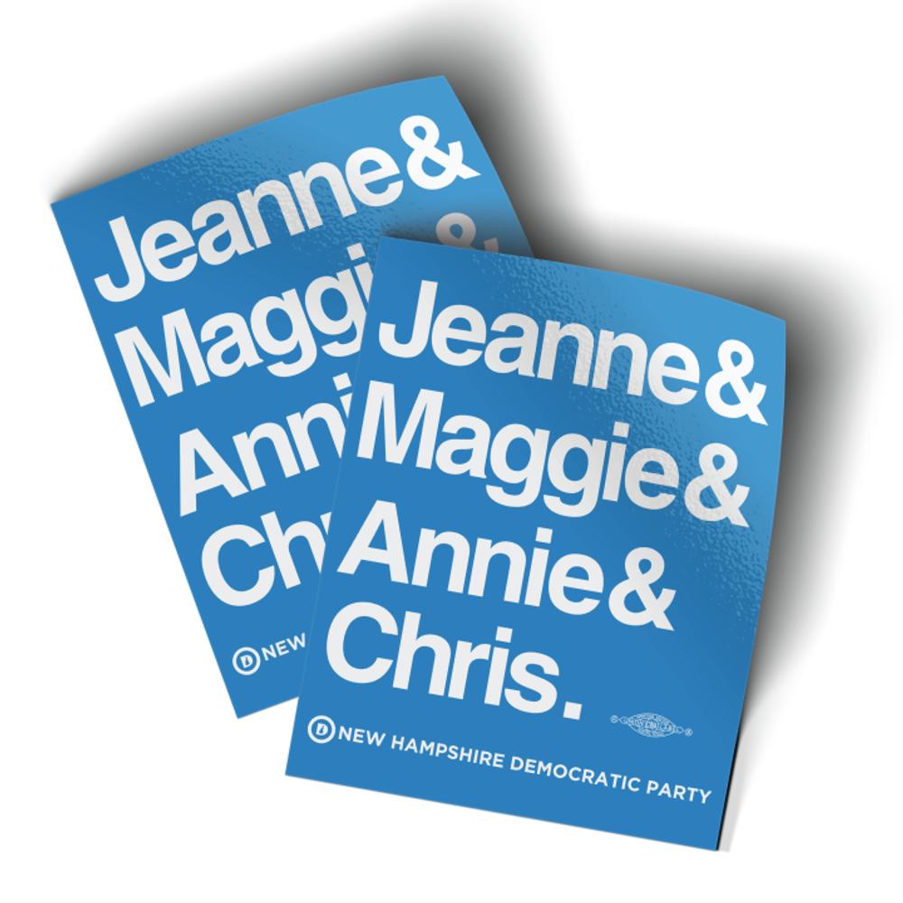 """Jeanne & Maggie & Annie & Chris (4"""" x 5"""" Vinyl Sticker -- Pack of Two!)"""