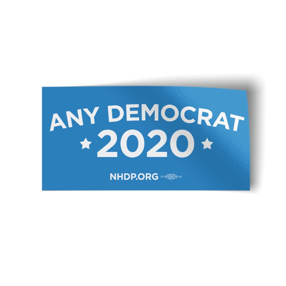 "Any Democrat 2020 - Blue (7.5"" x 3.75"" Vinyl Bumper Sticker)"