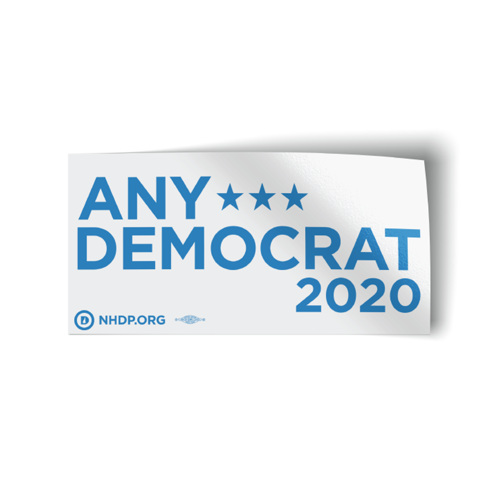 "Any Democrat 2020 - White (7.5"" x 3.75"" Vinyl Bumper Sticker)"