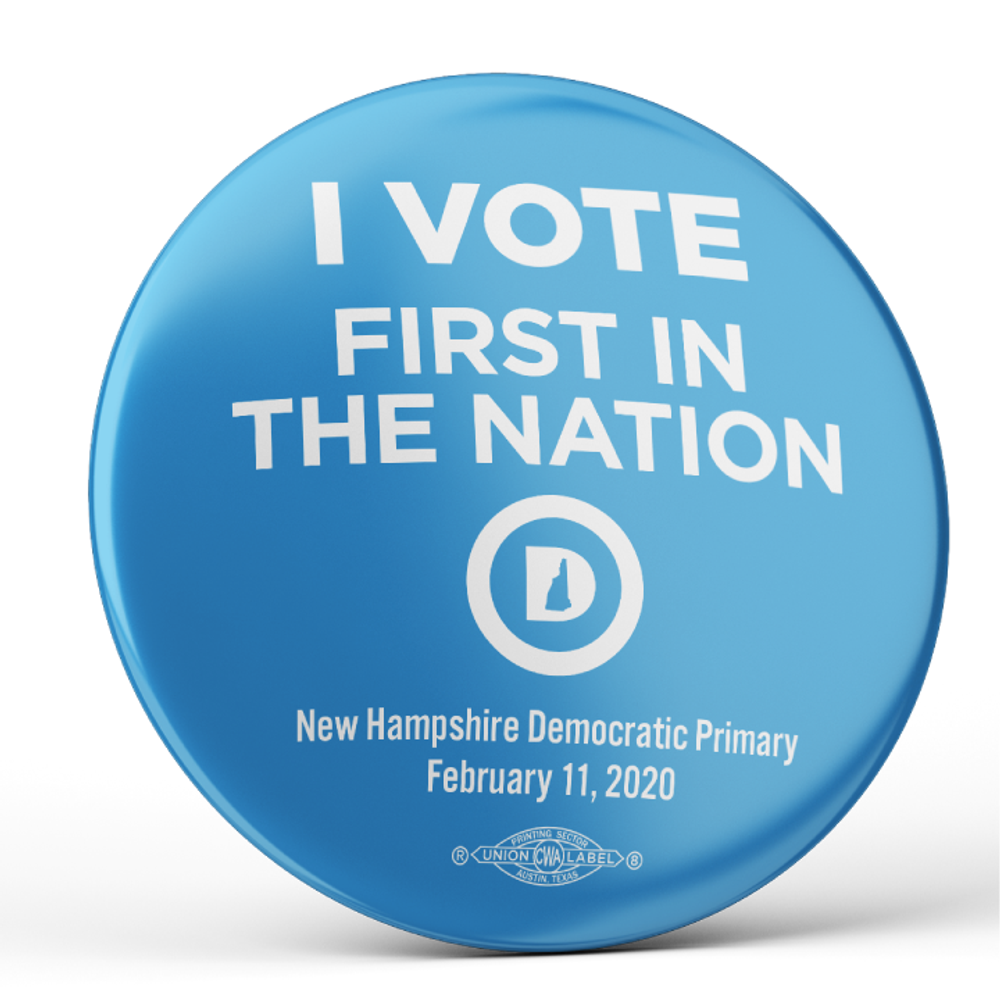 "I Vote First In The Nation (2.25"" Pin-Back Button -- Pack of Two!)"