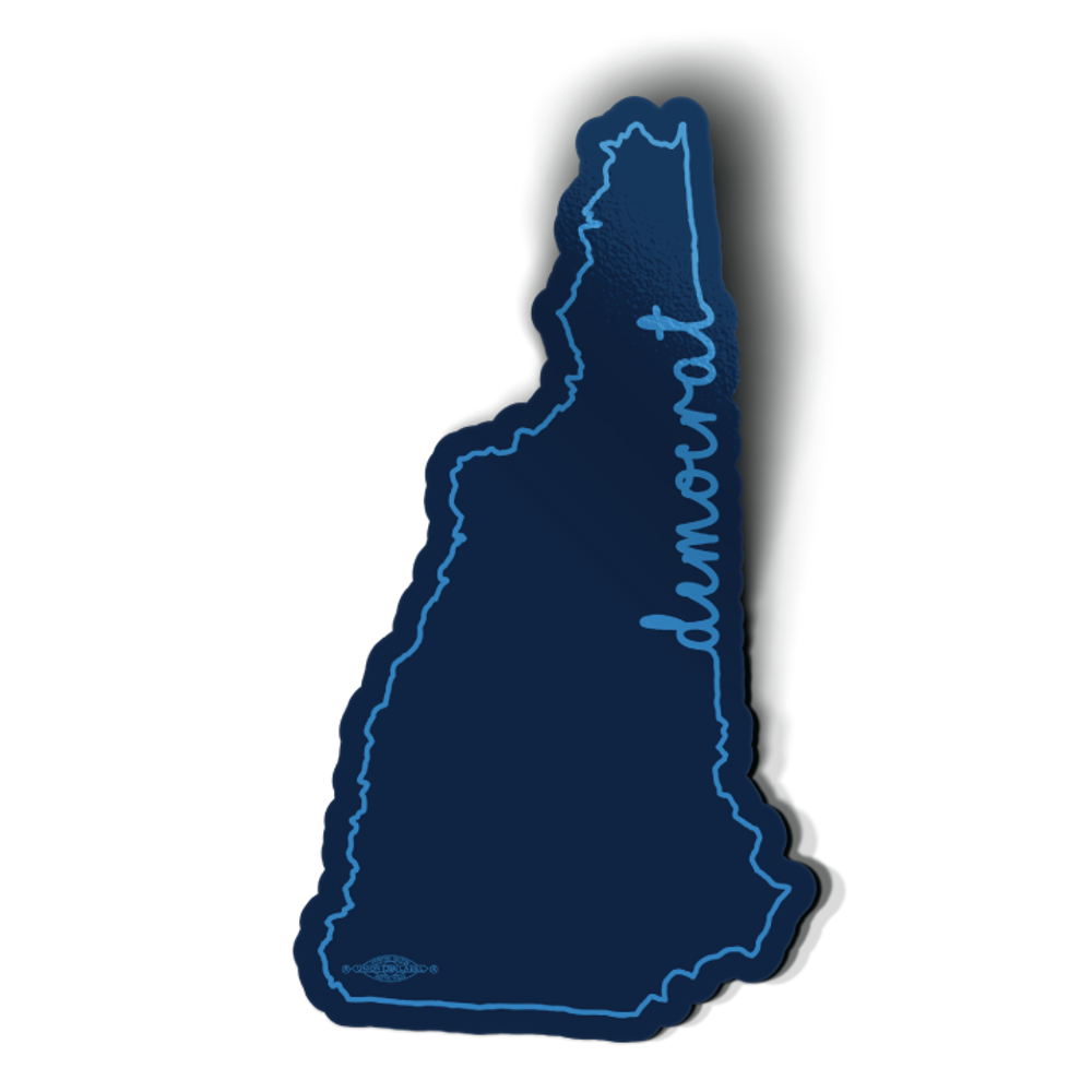 "NH Democrat Outline (3"" x 5.5"" Vinyl Sticker -- Pack of Two!)"