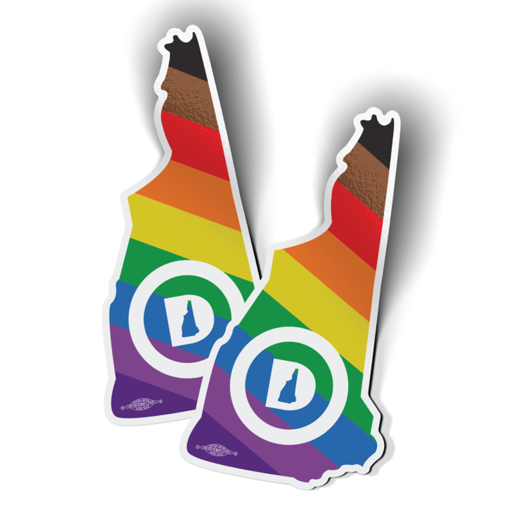 """New Hampshire Dems State - Extended Pride (3"""" x 5.75"""" Vinyl Sticker -- Pack of Two!)"""