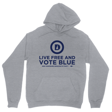 """""""Live Free And Vote Blue"""" (Dark Ash Adult Hooded Pullover Fleece)"""