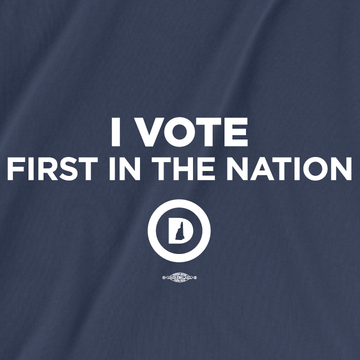 I Vote First In The Nation (Women's Navy Tee)