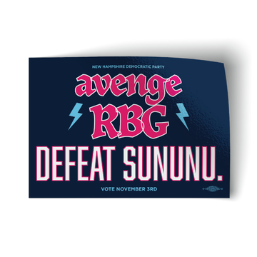 "Avenge RBG, Defeat Sununu - Navy (5"" x 3.5"" Vinyl Sticker -- Pack of Two!)"
