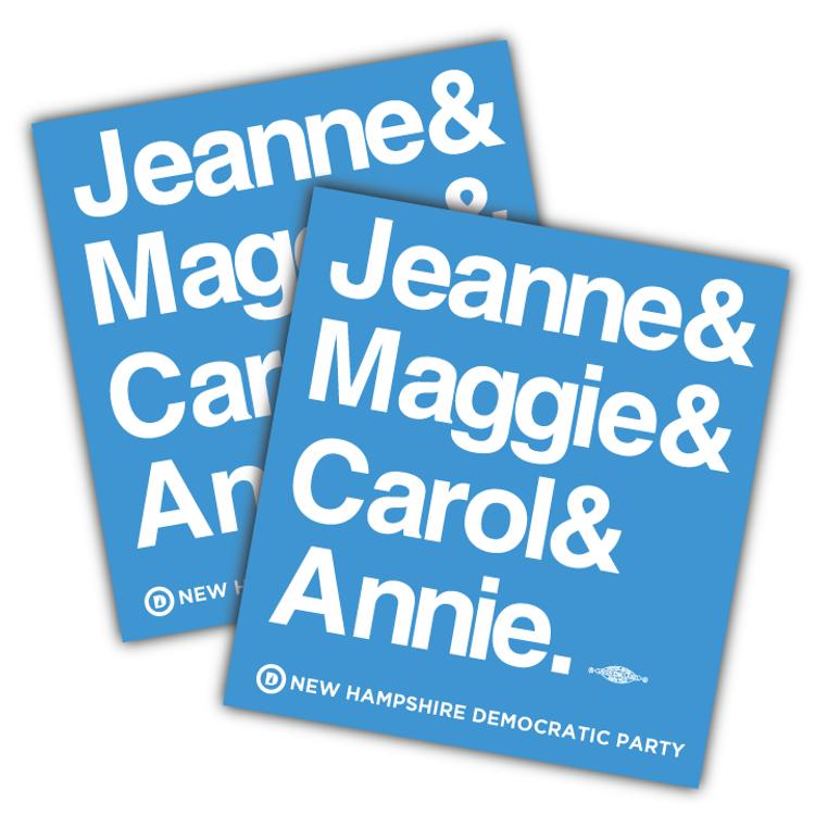 """Jeanne & Maggie & Carol & Annie (4.5"""" x 4"""" Vinyl Sticker -- Pack of Two!)"""