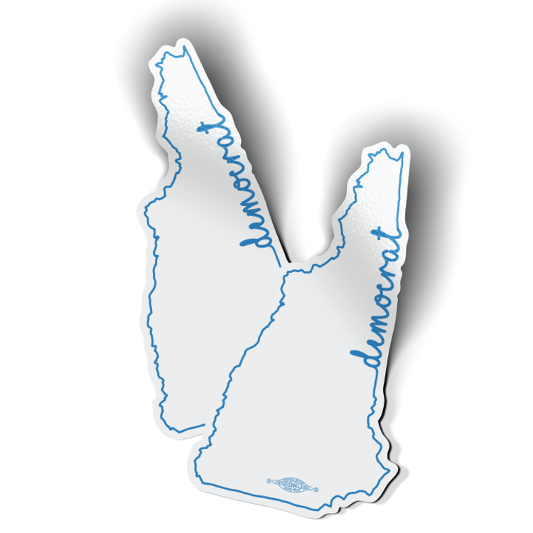 """NH Democrat Outline"" (4"" x 6"" Vinyl Sticker -- Pack of Two!)"