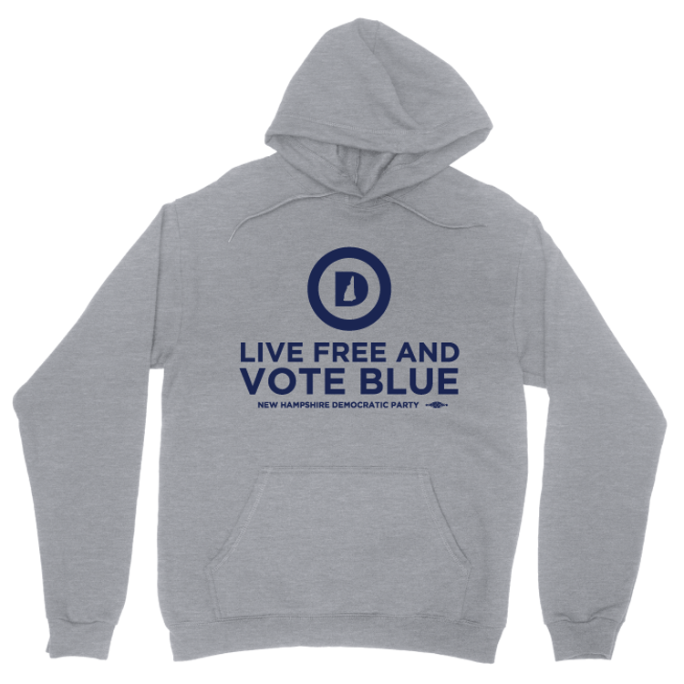 """Live Free And Vote Blue"" (Dark Ash Adult Hooded Pullover Fleece)"