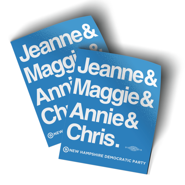 "Jeanne & Maggie & Annie & Chris (4"" x 5"" Vinyl Sticker -- Pack of Two!)"