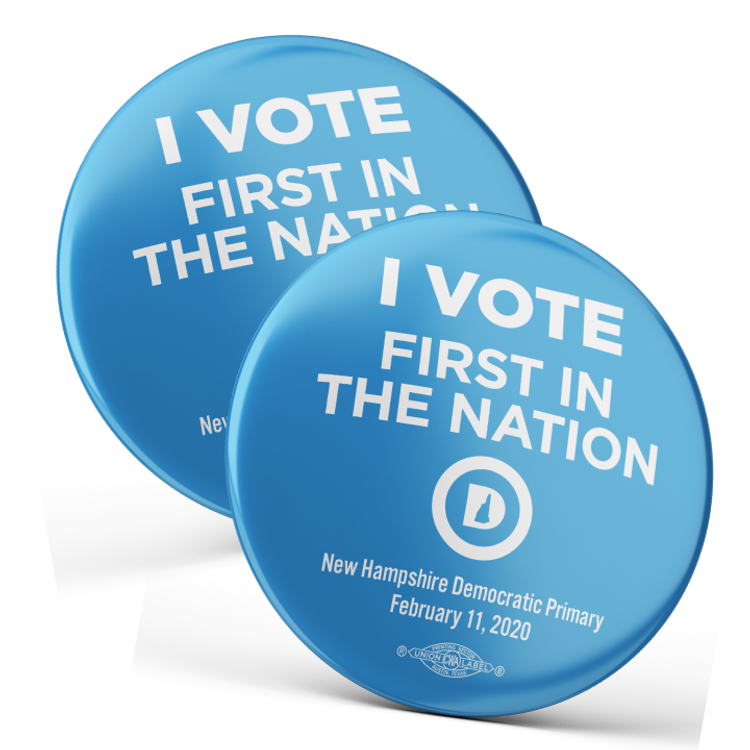 """I Vote First In The Nation (2.25"""" Pin-Back Button -- Pack of Two!)"""