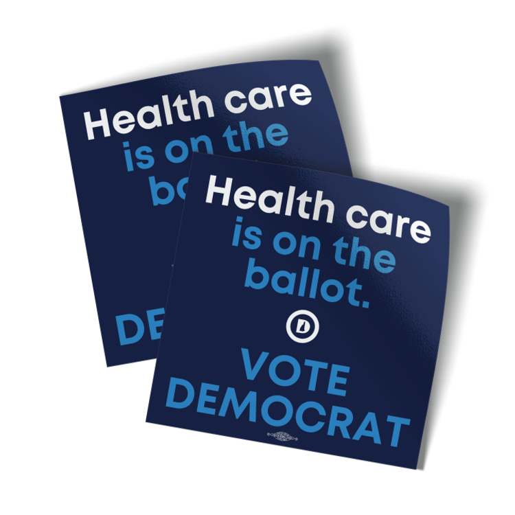 "Healthcare Is On The Ballot (4"" x 4"" Vinyl Sticker -- Pack of Two!)"