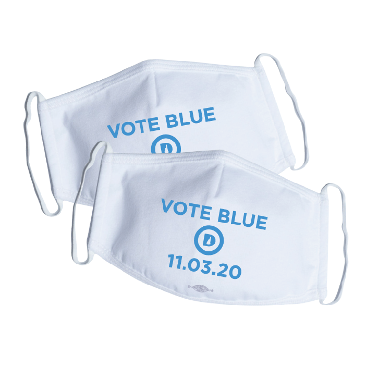 Vote Blue (White Mask -- Pack of Two!)
