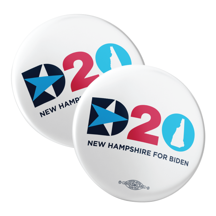 "DNC - NH For Biden (2.25"" Pin-Back Button -- Pack Of Two!)"