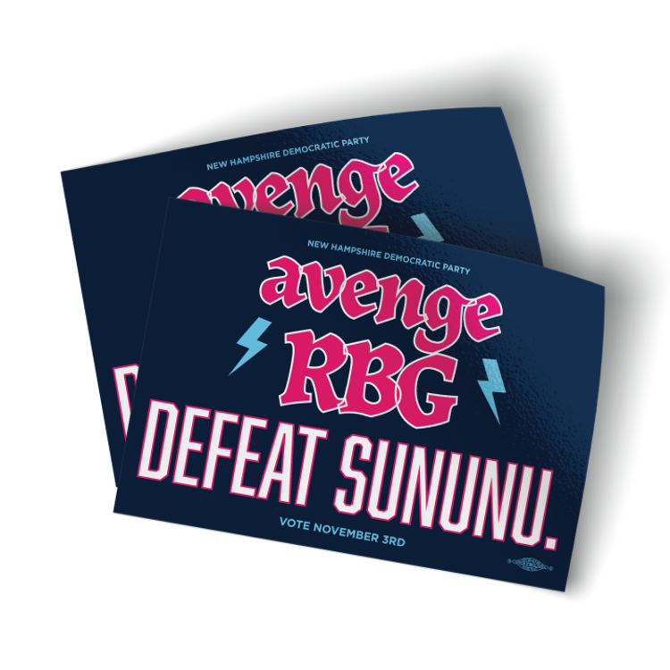 "Avenge RBG, Defeat Sununu - Navy (5"" x 3.5"" Vinyl Sticker -- Pack of Two!)"