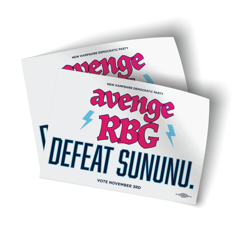 "Avenge RBG, Defeat Sununu - White (5"" x 3.5"" Vinyl Sticker -- Pack of Two!)"