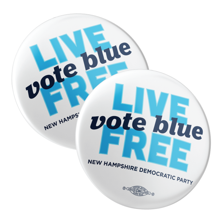 "Live Free, Vote Blue (2.25"" Pin-Back Button -- Pack Of Two!)"