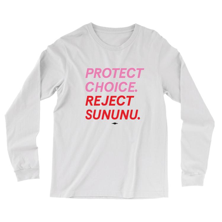 Protect Choice. Reject Sununu. (White Long-Sleeve Tee)