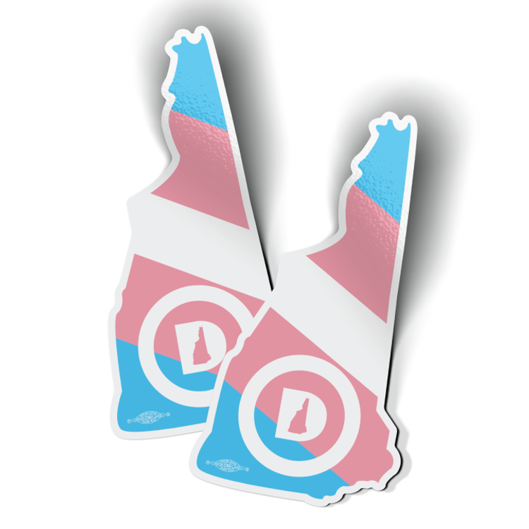 """New Hampshire Dems State - Trans Pride (3"""" x 5.75"""" Vinyl Sticker -- Pack of Two!)"""