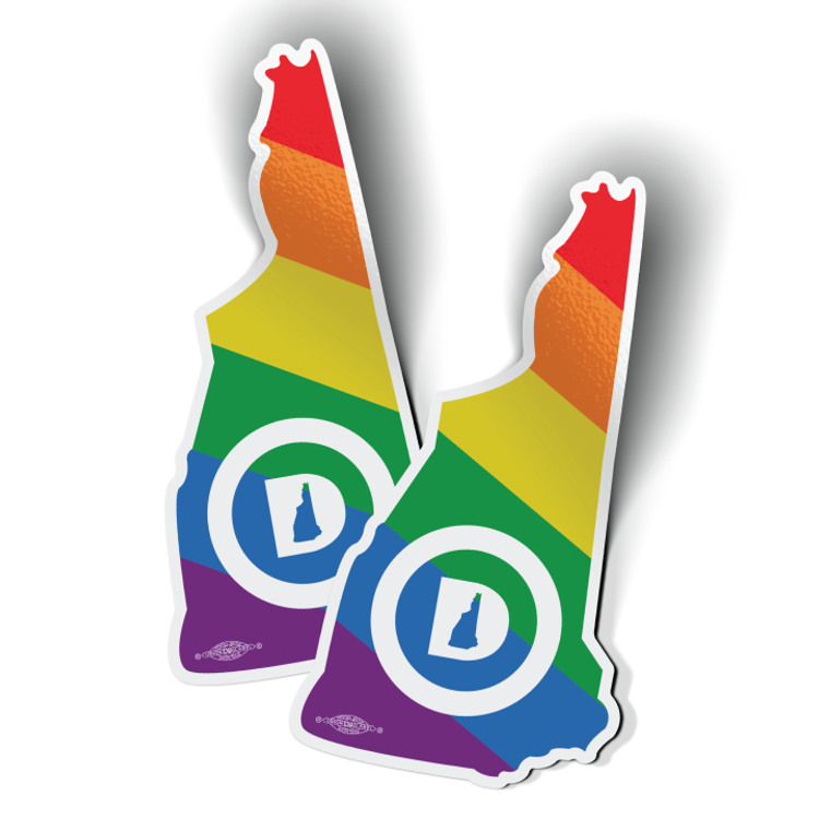 """New Hampshire Dems State - Pride (3"""" x 5.75"""" Vinyl Sticker -- Pack of Two!)"""