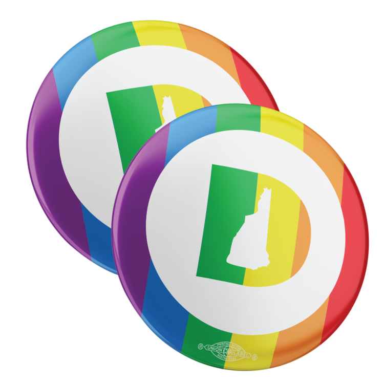 """New Hampshire Dems - Pride (2.25"""" Pin-Back Button -- Pack Of Two!)"""