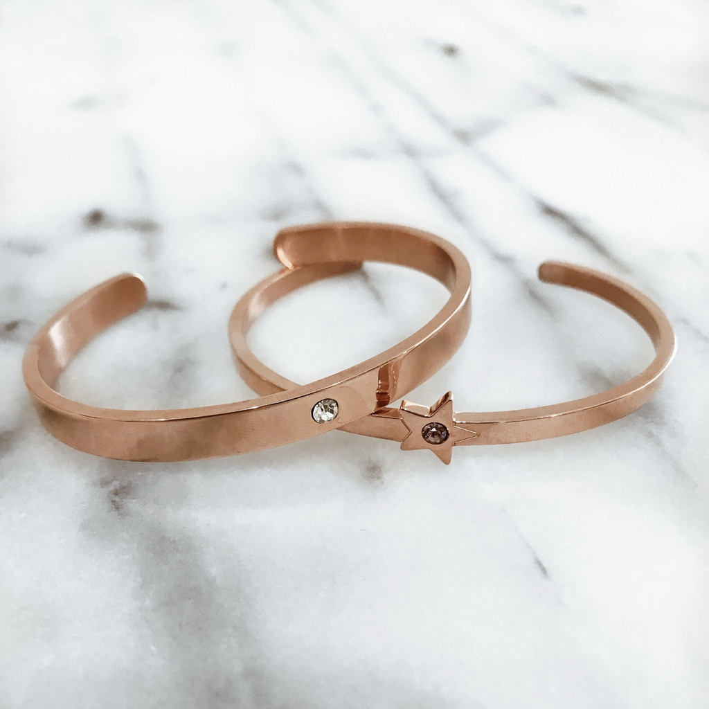 Rose Gold - Lock it Cuff with Rose Gold Star Cuff