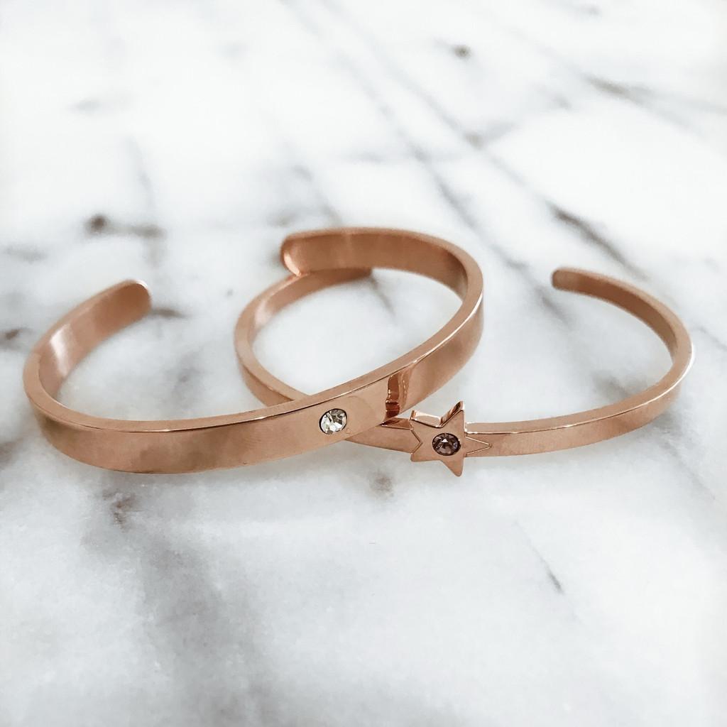 Rose Gold - Lock it Cuff with Rose Gold Star Cuff