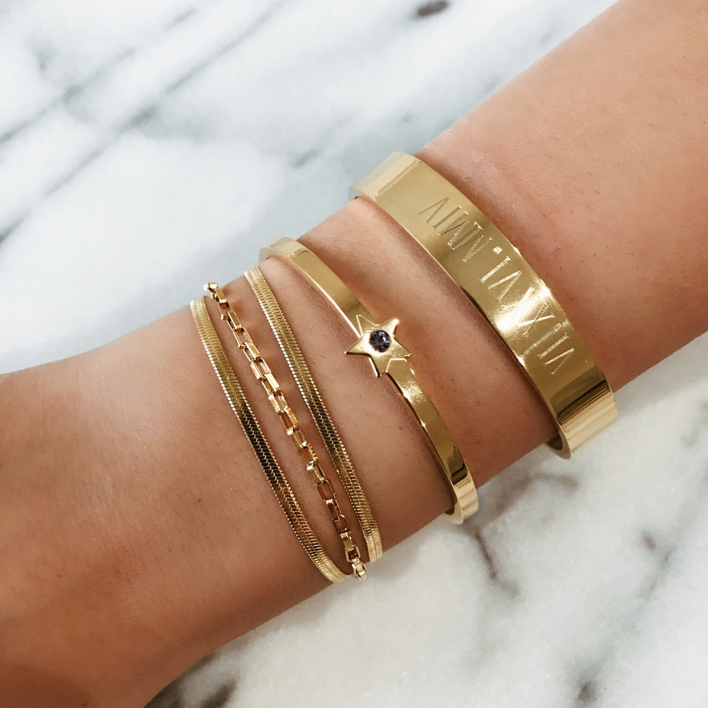 Star Cuff stacked with the Small  XL Golden Strand, Date Cuff