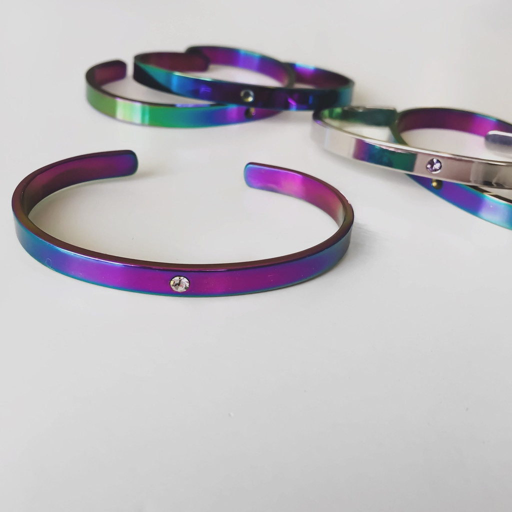 Lock It Cuff- Unicorn Rainbow finish