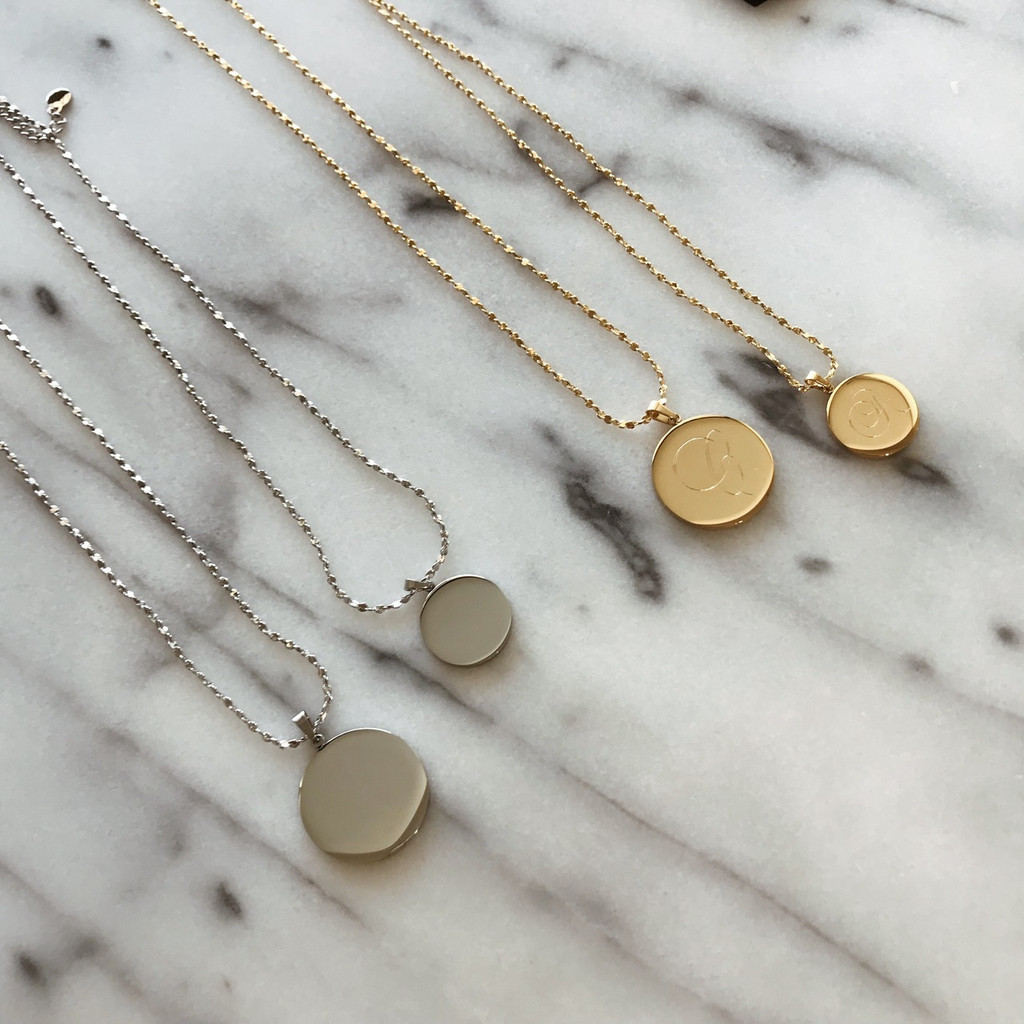 Pendant Disk Necklace 18k Plated
