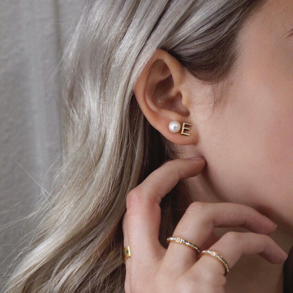 ABC Initial Earring Single 14k Gold
