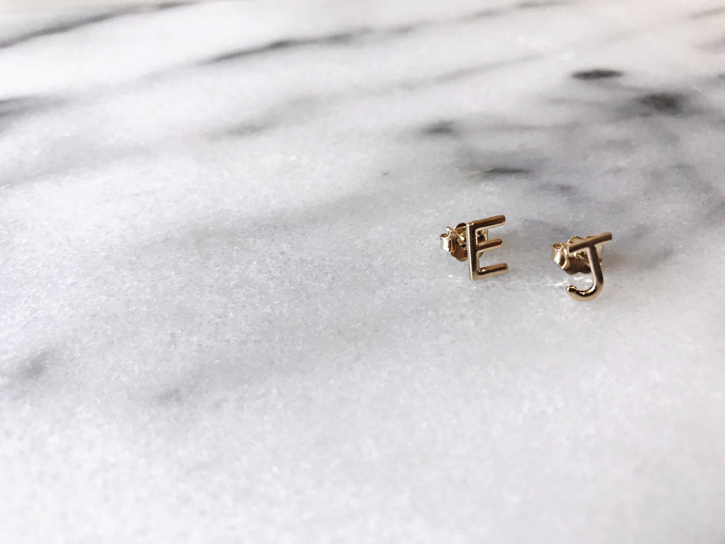 ABC Initial Earring Set 14k Gold