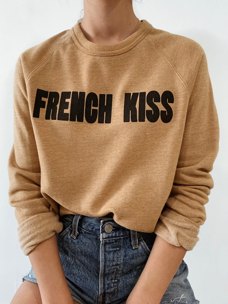 French Kiss- Model wearing Small Color:  Camel