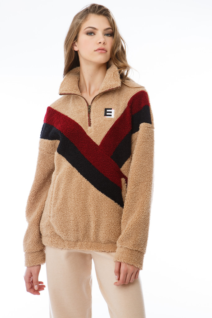 Lightweight Color block Teddy Zip Pullover (3 color way)