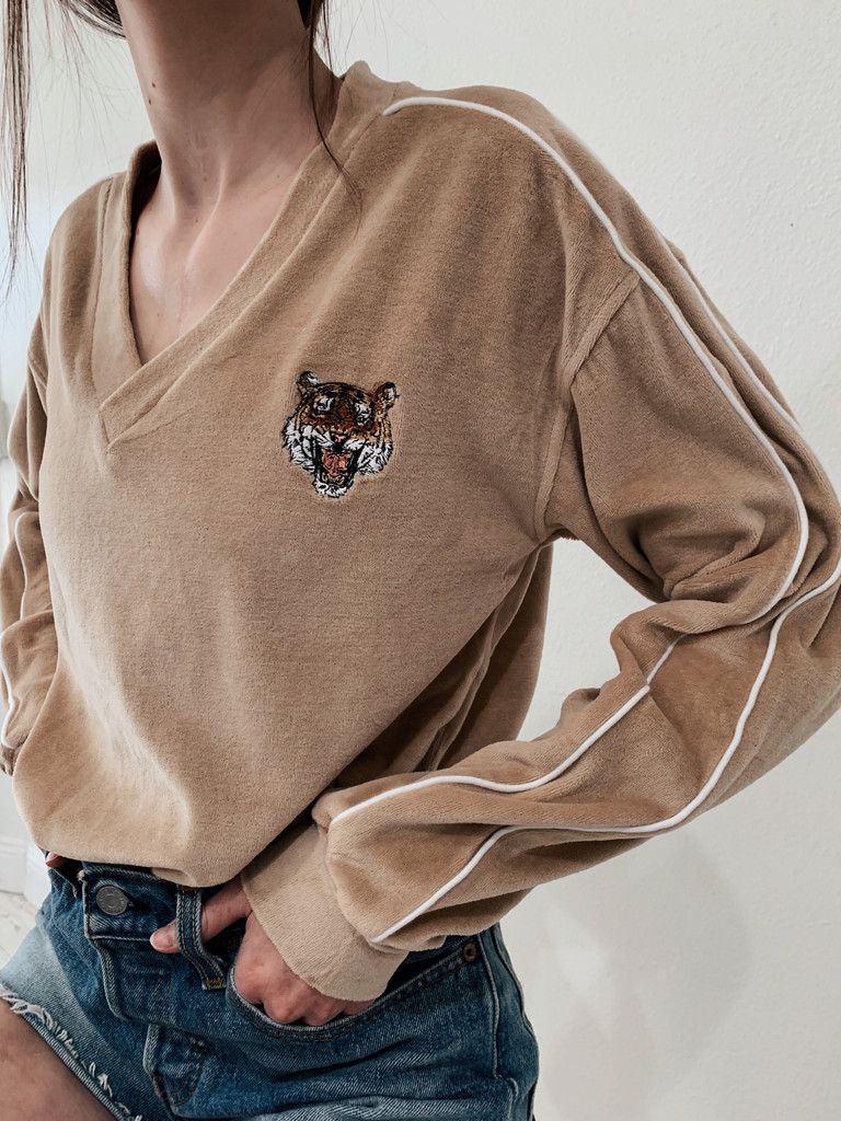 Tiger Velour V-neck
