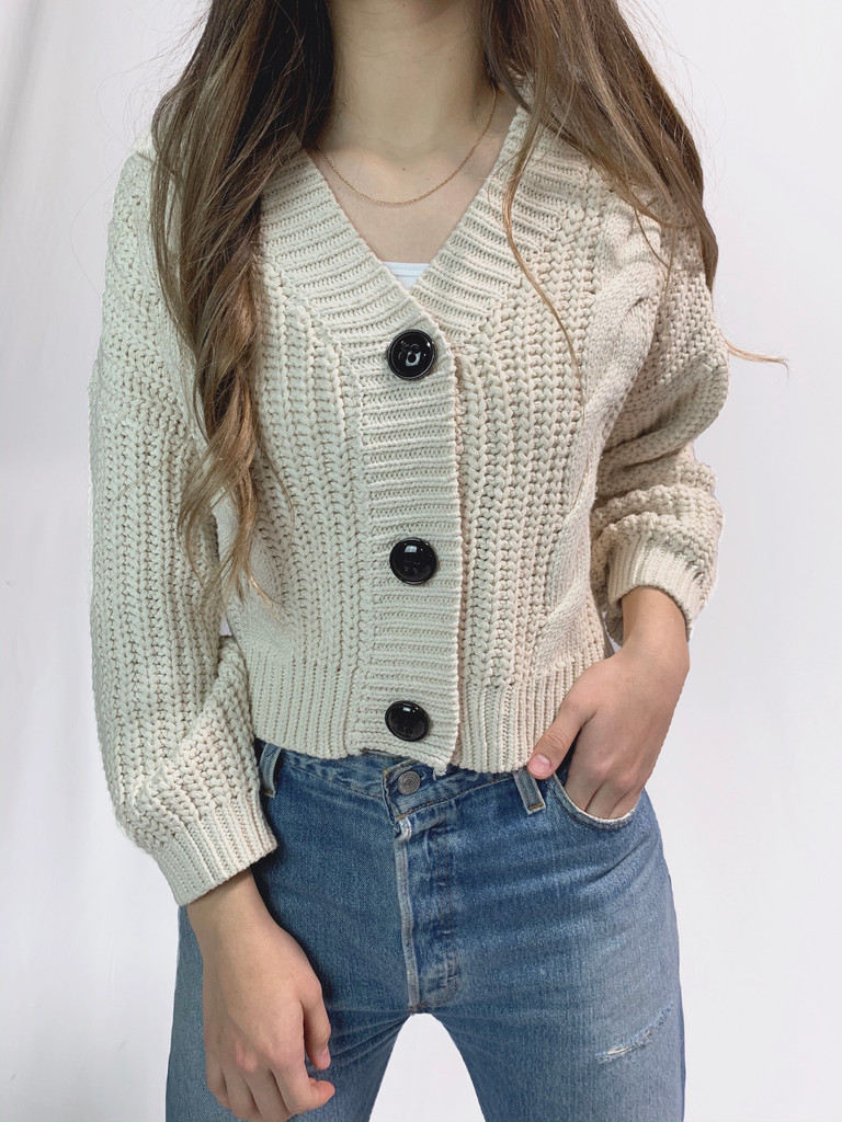 Cropped Grandpa Cable Knit