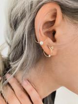Pearl Huggie Earrings 14k
