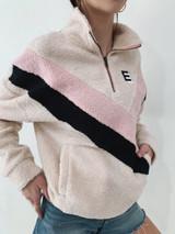 Lightweight Color block Teddy Zip Pullover (3 color way)