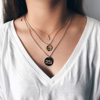 Worn with Zodiac and Number Layering Pendants.