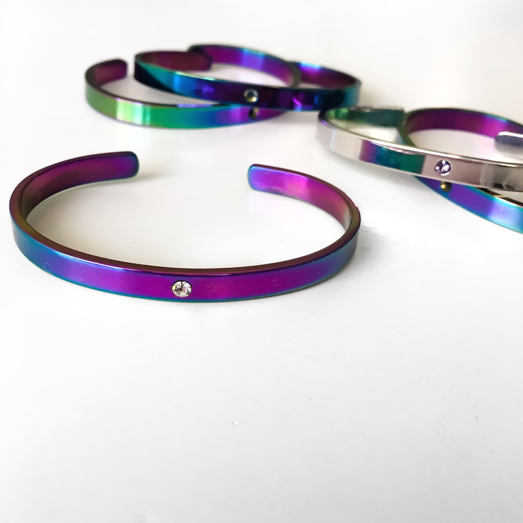 Lock It Cuff- Unicorn Rainbow finish