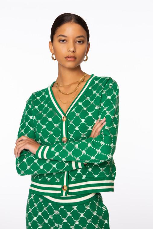 Monogram Cardigan Green