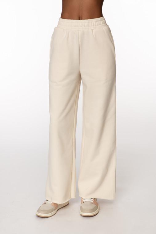 Cream Fleece Wide Leg