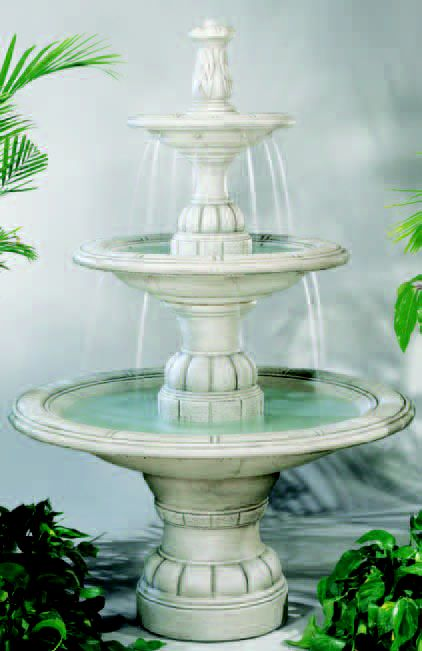 "56"" Small Contemporary Tier Fountain in Grando Pool, 7 PC"