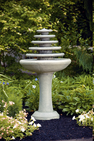 "51"" Five Tier Gozo Fountain on Pedestal"