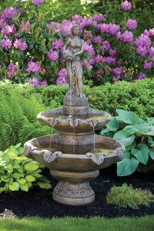 "70"" Two Tier Large Girl Holding Jug Fountain"